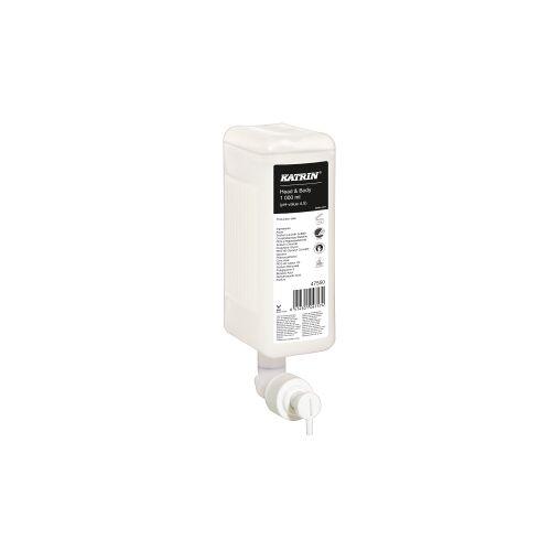 Metsä Tissue KATRIN Head & Body Duschgel, weiß, Effektives, umweltfreundliches, mildes und sehr hautfreundliches Duschgel, 1 Karton = 6 Patronen à 1000 ml