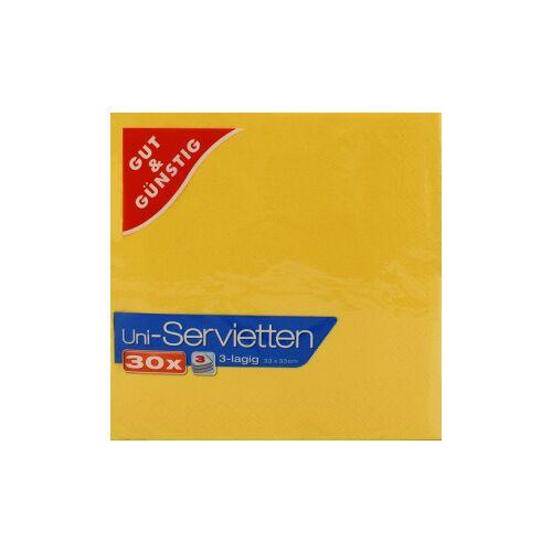 Uni-Servietten, 3-lagig, 33 x 33 cm, Farbige Servietten für jedes Ambiente, 1 Karton = 12 Packungen à 30 Stück, gelb