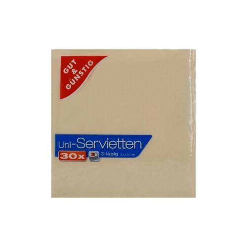 Uni-Servietten, 3-lagig, 33 x 33 cm, Farbige Servietten für jedes Ambiente, 1 Karton = 12 Packungen à 30 Stück, creme