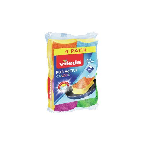 Vileda GmbH Vileda Colors 4er Topfreiniger, Idealer Topf- und Geschirrreiniger für alle hochwertigen Oberflächen, 1 Packung = 4 Stück