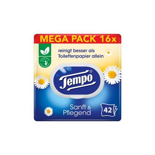 Essity Germany GmbH Tempo sanft & pflegend feuchte Toilettentücher Großpackung, Feuchttücher mit natürlicher Kamille, 1 Großpackung = 8 Doppel-Packungen à 2 x 42 Tücher