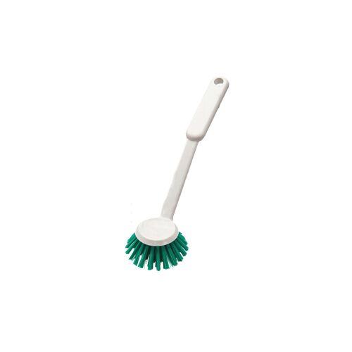 haug bürsten Haug Spülbürste, rund, Geschirrbürste mit Polyester PBT Besatzmaterial, Borsten: grün, Griff: weiß