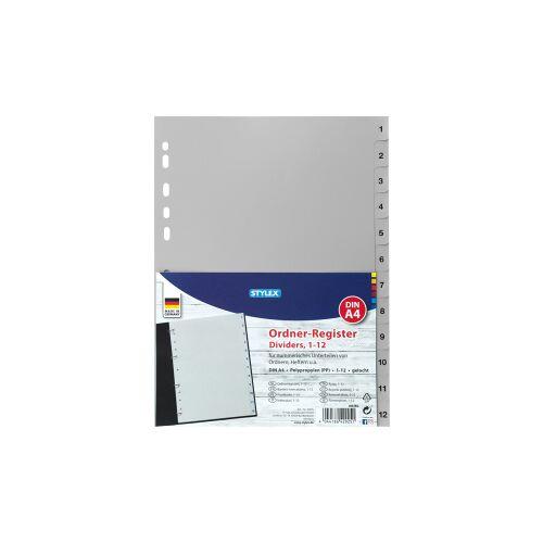 STYLEX Schreibwaren GmbH STYLEX® Register, DIN A4, Registerunterteilung in 1 bis 12, Material: Polypropylen