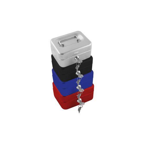 STYLEX Schreibwaren GmbH STYLEX® Geldkassette, Bargeldbox aus Vollmetall, Maße (B x L x H): 15,2 x 11,8 x 8 cm, farbig sortiert