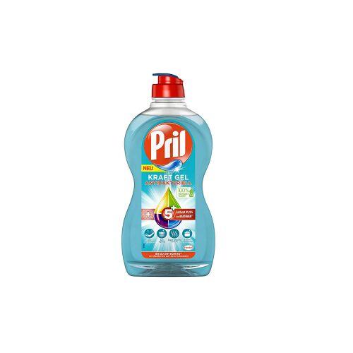 Henkel AG & Co. KGaA Pril Spülmittel Kraft Gel 5+ Antibakteriell, Zuverlässiges Geschirrspülmittel zum Entfernen von Essensresten, 450 ml - Flasche