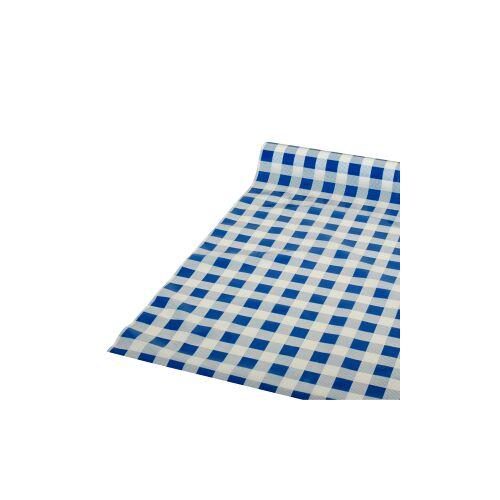 PAPSTAR  GmbH Papstar Tischdecke, Folie, Karo, blau-weiß kariert, 50 m x 80 cm, Abwaschbare und recycelbare Gartentischdecke, 1 Rolle à 50 m