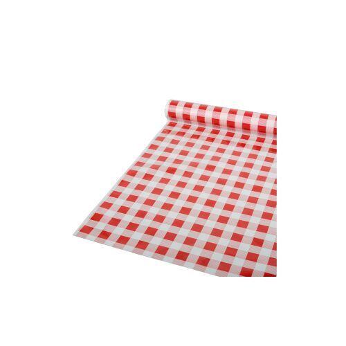 PAPSTAR  GmbH Papstar Tischdecke, Folie, Karo, rot-weiß kariert, 50 m x 80 cm, Abwaschbare und recycelbare Gartentischdecke, 1 Rolle à 50 m