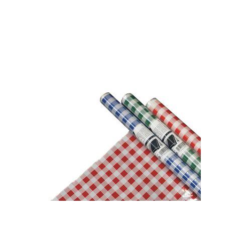 PAPSTAR  GmbH Papstar Tischdecke, Folie, Karo, 5 m x 80 cm, Abwaschbare und recycelbare Gartentischdecke, 1 Rolle à 5 m, farbig sortiert