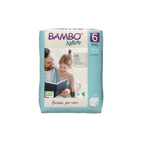 Abena Re-Seller GmbH Bambo® Windeln Nature, Atmungsaktive Windel die sich jedem Bewegungsdrang anpasst, Größe 6, 16+ kg, 1 Packung = 20 Windeln