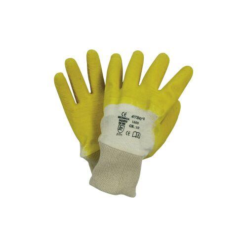 AS-Arbeitsschutz GmbH NITRAS Baumwoll-Trikot-Handschuhe, Arbeitsschutzhandschuhe mit Naturlatex beschichtung, 1 Paar, Größe: 10