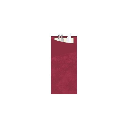 Duni GmbH & Co. KG DUNI Sacchetto Serviettentaschen mit Besteck, Praktische Besteckserviettentaschen 20 x 8,5 cm, Farbe: bordeaux, 1 Karton = 5 x 30 Stück = 150 Serviettentaschen