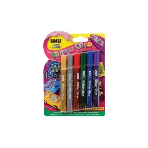 UHU GmbH & Co KG UHU Glitter Glue Glitzerkleber, Kreativer Glitzerspaß auf vielen Materialien, 1 Packung = 6 x 10 ml