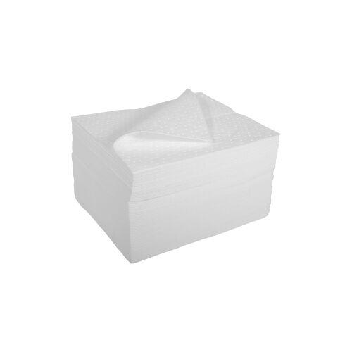 Sorbent Öl-absorbierende Tücher, perforiert, Einzeltücher, Maße: 38,0 x 45,0 cm, 1-lagig, weiß, lose gestapelt, 1 Karton = 100 Tücher