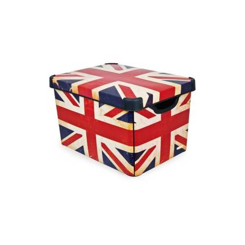 Curver Luxembourg S.a.r.l CURVER DECO´s Stockholm Aufbewahrungsbox, 20 Liter, Aufbewahrungskisten im Trend-Design bringen Farbe in Ihr Zuhause, Design: Union Jack