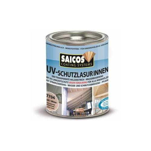 SAICOS COLOUR GmbH SAICOS UV-Schutzlasur Innen, weiß, UV-Langzeitschutz gegen Vergrauung und Vergilbung des Holzes, 750 ml - Dose