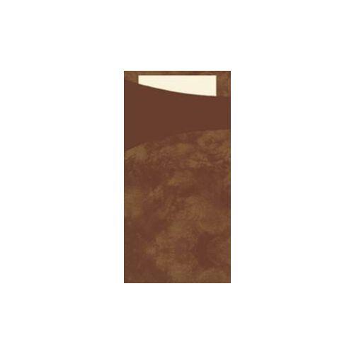 Duni GmbH & Co. KG DUNI Sacchetto Serviettentaschen, Tissue, Praktische Bestecktasche, 1 Karton = 5 x 100 Stück, café