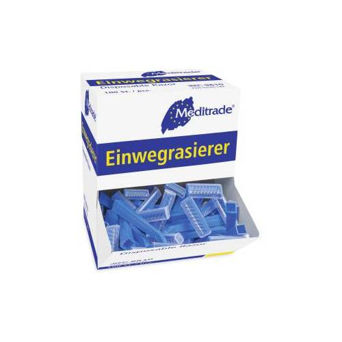 Meditrade GmbH Meditrade Einwegrasierer, einschneidig, Für eine sanfte, sichere und hautschonende Rasur, 1 Karton = 10 x 100 Stück = 1000 Stück, blau, unsteril