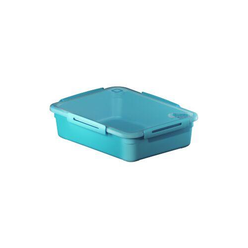 Rotho Kunststoff AG Rotho MEMORY Mikrowellen-Dose, Mikrowellen-Behälter zum Aufwärmen, Transportieren oder Frischhalten, Füllmenge; 3100 ml, 290 x 220 x 77 mm, AQUA blau