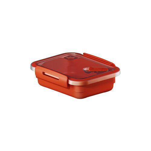 Rotho Kunststoff AG Rotho MEMORY Mikrowellen-Dose, Mikrowellen-Behälter zum Aufwärmen, Transportieren oder Frischhalten, Füllmenge: 400 ml, 150 x 120 x 47 mm, PAPAYA rot