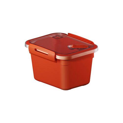 Rotho Kunststoff AG Rotho MEMORY Mikrowellen-Dose, Mikrowellen-Behälter zum Aufwärmen, Transportieren oder Frischhalten, Füllmenge: 850 ml, 150 x 120 x 95 mm, PAPAYA rot