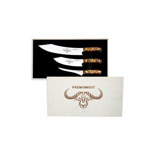 Johannes Giesser Messerfabrik GmbH Giesser No. 1 PremiumCut Messerset, Besteht aus dem BBQ No. 1, dem Chefs No. 1 und dem Filet No. 1., Design: Spicy Orange