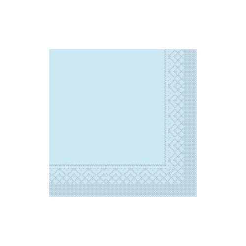 Mank GmbH Tissue + Paper Products Mank Tissue Basics Servietten, 40 x 40  cm, 1/8 Falz, 3-lagig, 1 Karton = 6 x 100 Stück = 600 Servietten, hellblau