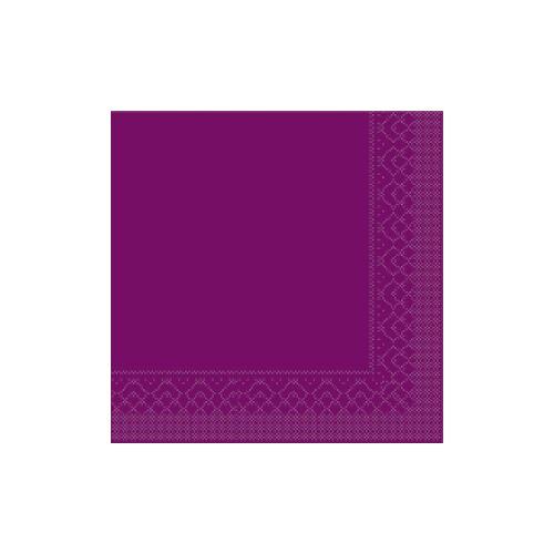 Mank GmbH Tissue + Paper Products Mank Tissue Basics Servietten, 33 x 33  cm, 1/4 Falz, 3-lagig, 1 Karton = 6 x 100 Stück = 600 Servietten, aubergine