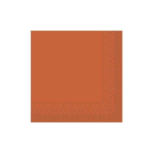 Mank GmbH Tissue + Paper Products Mank Servietten aus Tissuewatte, 25 x 25 cm, 1/4 Falz, 3-lagig, 1 Karton = 2 x 1200 Stück = 2400 Stück, terrakotta