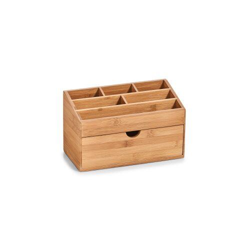 Zeller Present Handels GmbH Zeller Bamboo Organizer mit Schubfach, 6 Fächer, Ideal zur Ablage von Kosmetikartikeln, Büromaterial und vielem mehr, Material: Bambus, natur, 25,4 x 12,5 x 15 cm