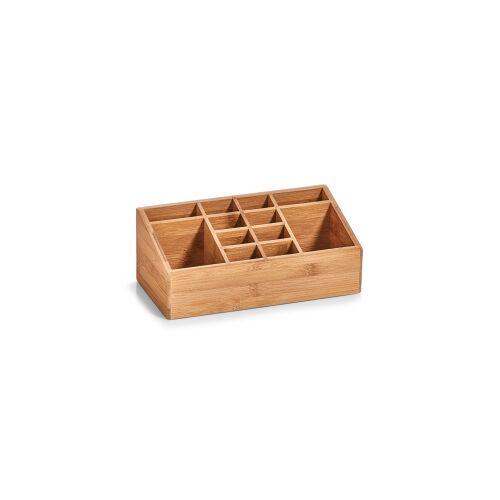 Zeller Present Handels GmbH Zeller Bamboo Organizer, 25,4 x 12 x 10 cm, 12 Fächer, Ideal zur Ablage von Kosmetikartikeln, Büromaterial und vielem mehr, Material: Bambus, natur