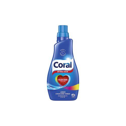 Unilever Deutschland GmbH Coral Optimal Color Vollwaschmittel, Flüssiges Waschmittel für strahlende Farben und geschmeidigen Tragekomfort, 1,1 Liter - Flasche, 22 WL