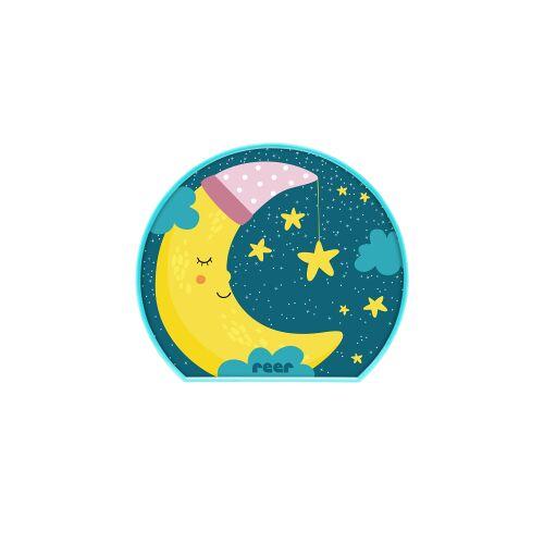 reer GmbH reer MyBabyLight Nachtlicht, Batteriebetriebenes Schlaflicht mit modernem Motiv, Kindliches Motiv: Mond
