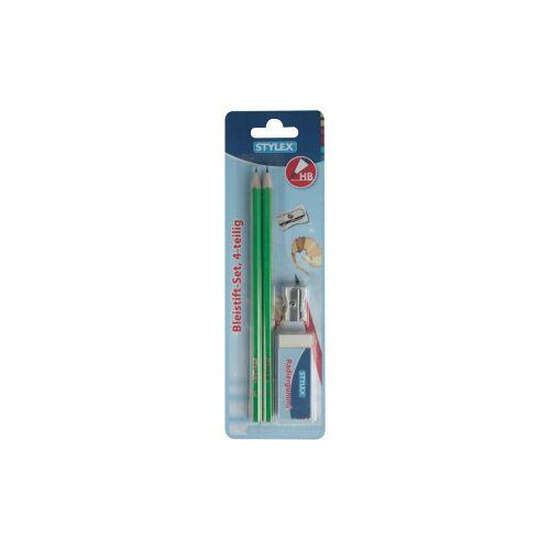 STYLEX Schreibwaren GmbH STYLEX® Bleistift-Set, 4-teilig, Schulset mit zwei Bleistiften, Spitzer und Radiergummi, 1 Set = 2 Bleistifte + Spitzer + Radiergummi, farbig sortiert