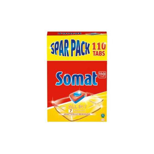 Henkel AG & Co. KGaA Somat 7 Tabs All in 1 Spülmaschinentabs, Phosphatfreie und kraftvolle Geschirrreinigertabs, 1 Spar Pack = 110 Tabs