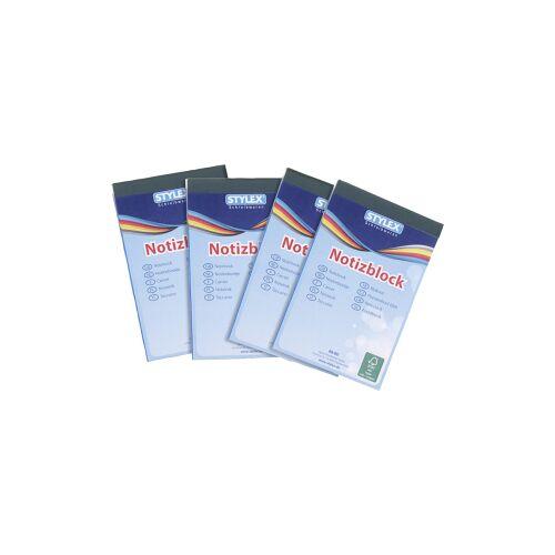 STYLEX Schreibwaren GmbH STYLEX® Notizblock, A7, 60 Blatt, Schreibblock mit hochfeinem Schreibpapier , 1 Packung = 4 Stück