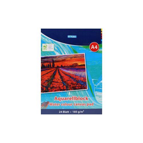 STYLEX Schreibwaren GmbH STYLEX® Aquarellblock, A4, Malblock zum Zeichnen und Malen , 1 Stück, 24 Blatt
