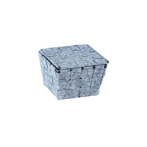 Wenko-Wenselaar GmbH & Co. KG WENKO Adria Feltro Aufbewahrungskorb, mit Deckel, Aufbewahrungsbox für das Bad und den gesamten Haushalt, Maße (B x H x T): 14 x 9,4 x 14 cm, quadratisch, grau