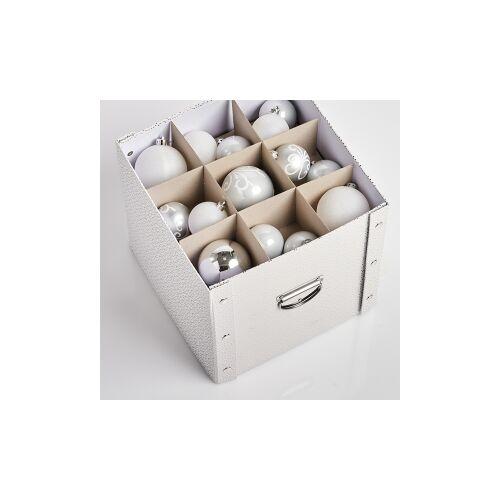Zeller Present Handels GmbH Zeller Weihnachtskugelbox, Aufbewahrungsbox für Weihnachtskugeln aus Pappe, Maße: ca. 30 x 30 x 29 cm, weiß/gold