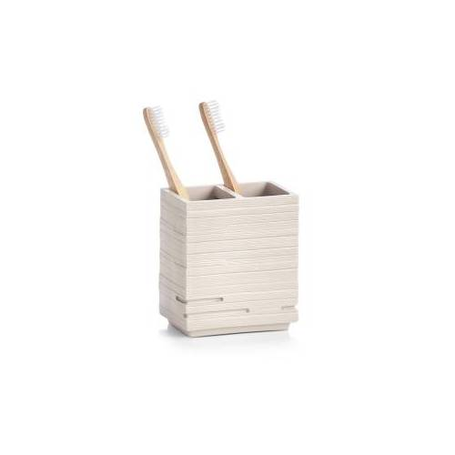 Zeller Present Handels GmbH Zeller Schiefer Zahnbürstenhalter, Polyresin, schwarz, Zahnbürstenaufbewahrung mit zwei Fächern, Maße: ca. 10,1 x 6,3 x 11,5 cm, beige