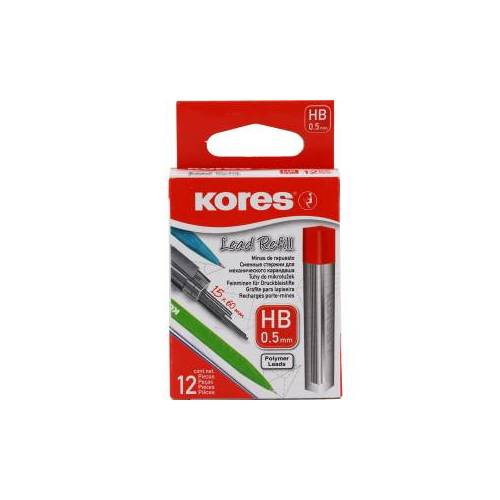 KORES Deutschland GmbH Kores Minen für Druckbleistifte, Ersatzmine geeignet für Druckbleistifte, 1 Packung = 12 Stück, 0,5 mm