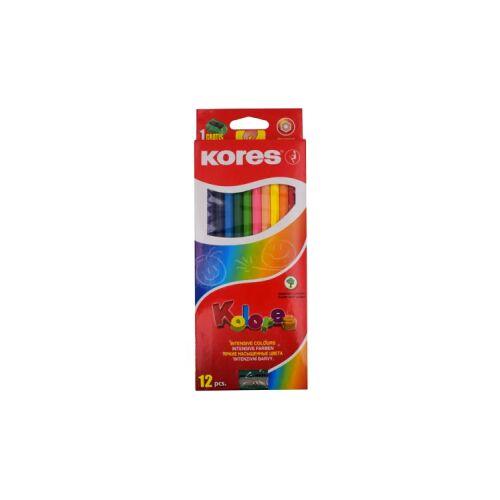 KORES Deutschland GmbH Kores Kolores Buntstifte, Farbstift mit weicher und leicht vermalbarer Mine, 1 Packung = 12 Stück + Anspitzer, fabig sortiert