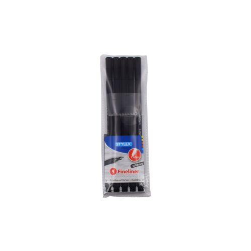 STYLEX Schreibwaren GmbH STYLEX® Fineliner, Filzstift für feines Schreiben und Zeichen, 1 Packung = 5 Stück, schwarz