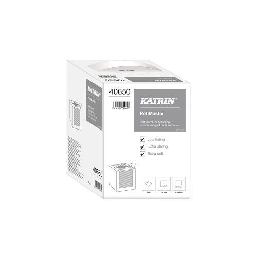 Metsä Tissue KATRIN Polimaster Poliertuch, Reinigungstuch für harte Oberflächen, hochweiß, 1 Karton = 150 Tücher