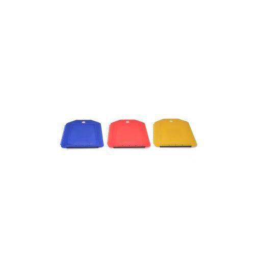 Eiskratzer mit Gummilippe, Scheibenkratzer mit 3 verschiedenen Kratzern, 1 Stück, farbig sortiert