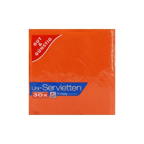 Uni-Servietten, 3-lagig, 33 x 33 cm, Farbige Servietten für jedes Ambiente, 1 Karton = 12 Packungen à 30 Stück, orange