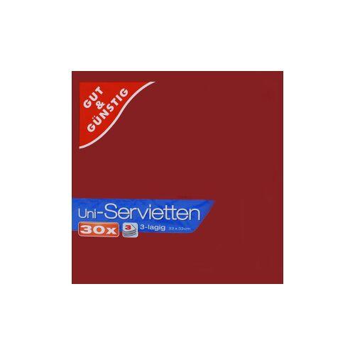 Uni-Servietten, 3-lagig, 33 x 33 cm, Farbige Servietten für jedes Ambiente, 1 Karton = 12 Packungen à 30 Stück, bordeaux