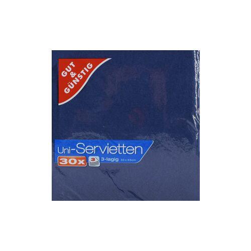 Uni-Servietten, 3-lagig, 33 x 33 cm, Farbige Servietten für jedes Ambiente, 1 Packung = 30 Stück, dunkelblau