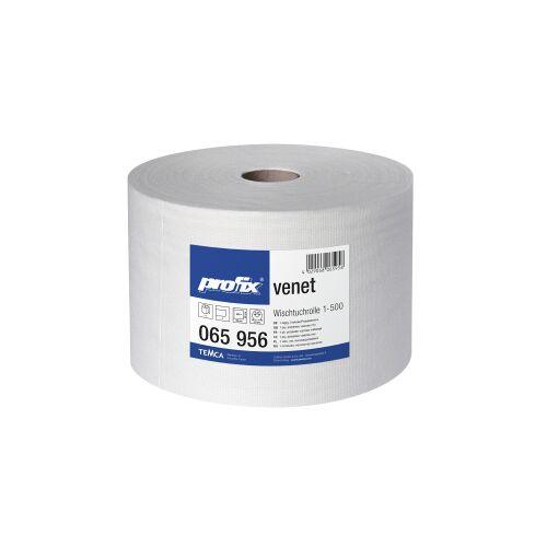 TEMCA GmbH & Co. KG. profix® venet Wischtuchrolle, 36 x 28 cm, hochweiß, Wisch- und Poliertuch, perforiert, 1 Paket = 1 Rolle = 500 Abrisse