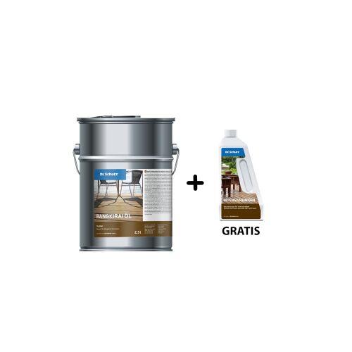 Cc Dr. Schutz®  Aktionsset Terrassenöl Bangkirai, Dunkel, Naturöl für Bangkirai Terrassen, 2,5 Liter - Dose + gratis 750 ml - Intensivreiniger für Holz