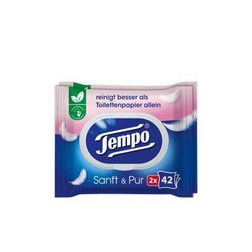Essity Germany GmbH Tempo sanft & pur feuchte Toilettentücher, Feuchttücher mit der parfümfreien, ultrasanften Formulierung, 1 Doppel-Packung = 2 x 42 Tücher, mit Verschluss